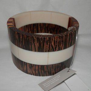 Chico's Wide Wood Pattern Cuff Bracelet New